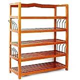 Leisure Zone 5 Tier Slated Wood Shoe Rack Storage Shelves With 4 hangers