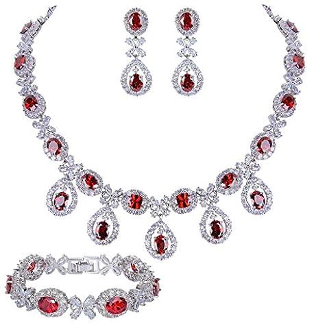 EVER FAITH® Silber-Ton CZ Blume Blätter Tropfen Halskette Ohrringe Armband Armkette Set rot Garnet-farbe N07592-3