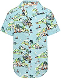 M&Co Boys Short Sleeve Classic Collar Button Front Hawaiian Tropical Print Shirt