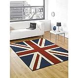 Just Contempo Tapis Motif drapeau Union Jack Gris 120 x 160cm, Red, 80 x 150 cm