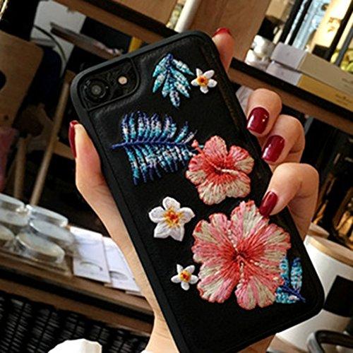 YAN Für iPhone 6 / 6s, Stickerei Blumen PU Leder schützende Rückseite Cover Hard Case ( Color : Pink ) Black