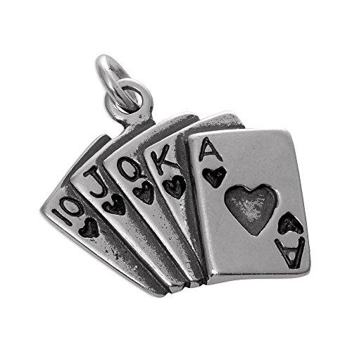 Ciondolo in argento Sterling a forma di mazzo di carte da Poker