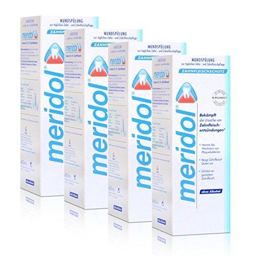 4x Meridol Mundspülung Zahnfleischschutz 400ml - ohne Alkohol