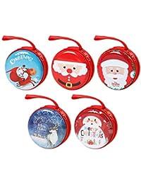 Funhoo 5Pcs Monedero de Navidad, Bolsa Redonda de Papá Noel con Cremallera, Mini Estuches