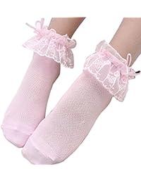 ARAUS Calcetines Niñas Tobillo Encaje con Volantes Calcetines de Princesa Pack de 5
