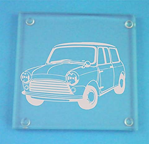 Set of 4 Glass Coasters With Classic Mini Cooper Design