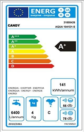 Candy Aqua 1041 D1 Waschmaschine FL/A+ / 141 kWh / 1000 UpM / 4 kg/Raumsparwunder: 69,5 x 51 x 44 cm/weiß