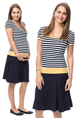 GoFuture Damen Umstandskleid Stillkleid 3in1 PALOMA GF2368 marine-weiß gestreift plus Gelb (oben) und Marine (unten)