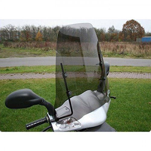 Wohnstyle24 Universelles Windschutzschild 031 grau Windschild für Roller Motorrad Mofa Motorroller Quad ATV Schutzscheibe Windschutz transparent