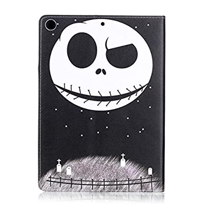 Ekakashop ipad 2017 9.7 Stand Case, ipad 2017 Cover Leather Retro, Fashion Colorful Painting Design Ultra Slim-Fit Flip PU Leather Book style Wallet Magnetic Built-in Stand Shockproof Full Protection Case Cover with Retina Display for Apple New ipad 2017 9.7 with 1*kickstand (color random), Skull 2