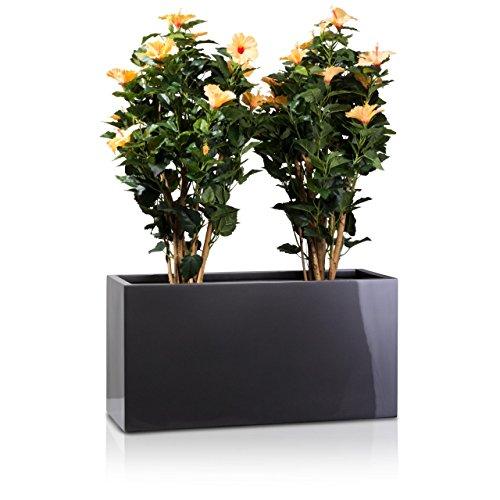 Bac à fleurs VISIO, pot de fleur en fibre de verre, gris métallique