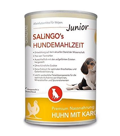SALiNGO Hundefutter für Welpen, nass, Huhn mit Karotte und Calcium (6x400g) (Aktion Welpen)