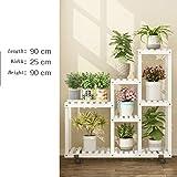 Blumenständer mit Rädern Bambus Indoor Wohnzimmer Balkon Bodenstehende Multilayer Blumentopf Regal (Farbe : Weiß, Größe : 90cm-Length)