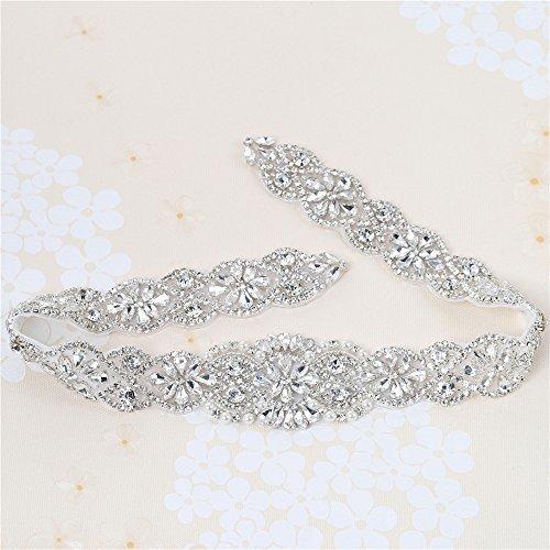 Hochzeit Gürtel Applique mit Strass und Perlen in Sliver