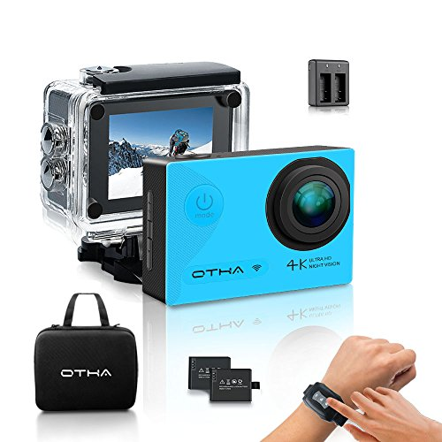 OTHA Action Cam 4K, Sports Action Kamera Unterwasserkamera Wi-Fi 16MP Full HD Wasserdicht Nachtsicht Helmkamera mit 2.4G Fernbedienung, 2 Verbesserten Batterien und Zubehör Kits - Blau