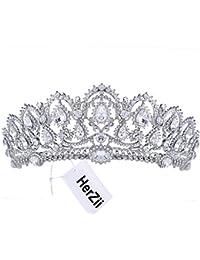 HerZii novia Princesa Cristal Austríaco Tiara Boda Rhinestone Corona velo accesorio para el pelo plateado corona