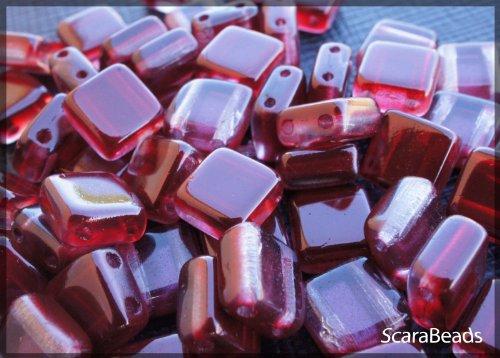 40 pz Tile Beads - Ceco piazza perline di vetro con due fori, rivestimento perla da un lato, Granato (Rubino Scuro) - Veneziana Seed