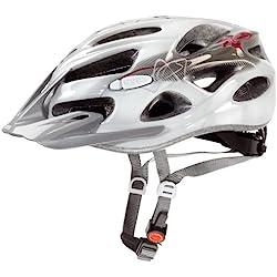 Uvex Onyx - Casco de ciclismo, color blanco / línea rojo, talla 52-57