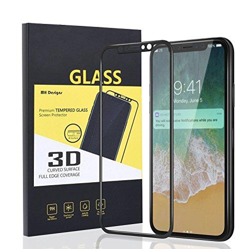 iPhone X Protector de Pantalla, MH Designs [Bubble-Free] [Anti-rasguños] [Fácil instalación] 3D Cobertura completa 9H Dureza HD Claro Protector de pantalla de vidrio templado para Apple iPhone X (2017 Edition) - Negro