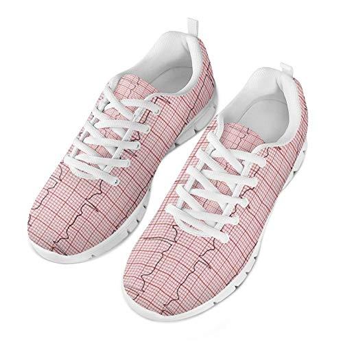 Coloranimal Teenager Mädchen Jungen Unisex Laufen Jogging Wohnungen Rutschfeste Lace-up Sneaker Schuhe für Damen Damenmode Krankenschwester Herzschlag Schuhe -EU Größe 39 -