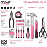 Apollo 39 Piece Pink Ladies Home Tool Kit with Most Reached for Pink DIY Tools - Combination Pliers, Claw Hammer, Precision Screwdrivers & more in Tool Box - Great Home Gift Womens Tool Kit