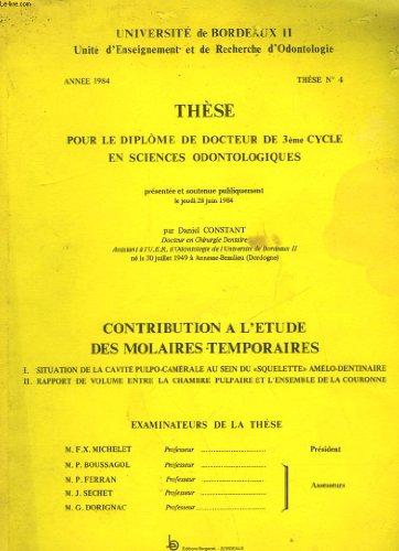 THESE POUR LE DIPLOME DE DOCTEUR DE 3° CYCLE EN SCIENCE ODONTOLOGIQUES