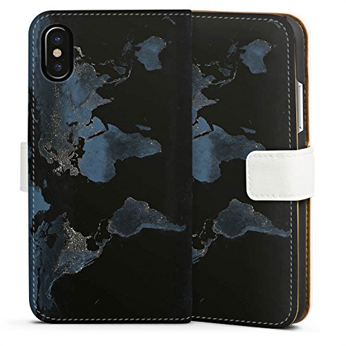 Apple iPhone 7 Plus Silikon Hülle Case Schutzhülle World Map Weltkarte Reisen Sideflip Tasche weiß