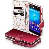 Sony Xperia Z3+ Cover, Terrapin Handy Leder Brieftasche Case Hülle mit Kartenfächer für Sony Xperia Z3+ Hülle Rot mit Blumen Interior