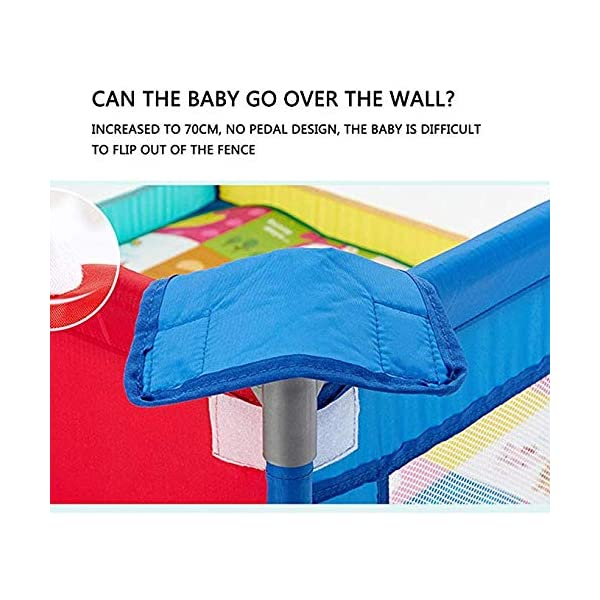 TOY Child Playpen, Kids Activity Center, Kids Safety Play Center Yard, Home Indoor Fence, Anti-Fall Play Pen, Fabric Indoor Child Playards, Anti-Skid,120 * 120cm TOY ◆Liberate Mom's Hands: Effectively help your child explore the world of perception, keep your child away from harm, and mothers can free their hands to do their own things.(Note: The package has only 1x children's fence.) ◆Large Space Design: 120x120cm, 120x150cm, 150x150cm, 150x190cm, 180x190cm, 200x250cm (6 sizes, available for you to choose from). Please refer to the dimension drawing for details. It provides a safe space for your child to play so that your little one could move around freely. ◆Spacious Area:The height of the fence is long enough for the child to stand and walk while the area inside the yard is plentiful for them to explore around. Make it fun for children to play and learn with enough room for all baby's essentials 4