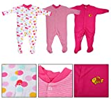 Baby Grow Cotton Mini Berry Long Sleeve Sleep Suit Romper 0-3 months (Pink, MB10151716)-Set of 3