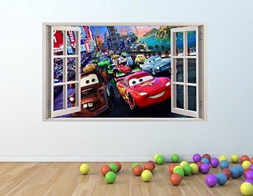 Cars Film 3D Fenster Effekt Vinyl Wand Kunst Aufkleber 68x 48cm Cars Film-wand-aufkleber