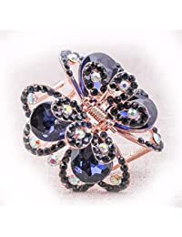XIAOBAI Accesorios para el cabello, pinzas para el pelo, joyas, cintas para el cabello, regalos, pedrería, longitud de tinta azul 5.0cm, ancho 4.6cm. Aleación con incrustaciones de piedras preciosas artificiales