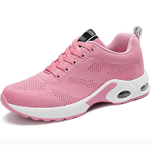 Donna Cuscino d'Aria Scarpe da Ginnastica Corsa Sportive Respirabile Mesh Running Fitness Sneakers Basse Basket Sport (35 EU, P-Rosa)