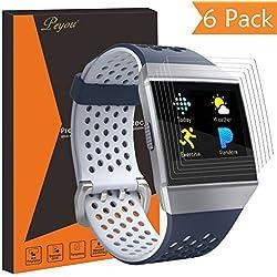 Fitbit Ionic Protector de pantalla [6pcs], PEMOTech HD clara [cobertura completa] Protector de pantalla autorreparable película para Smartwatch Fitbit–anti-scratch/burbujas/antihuellas con garantía de reemplazo de por vida