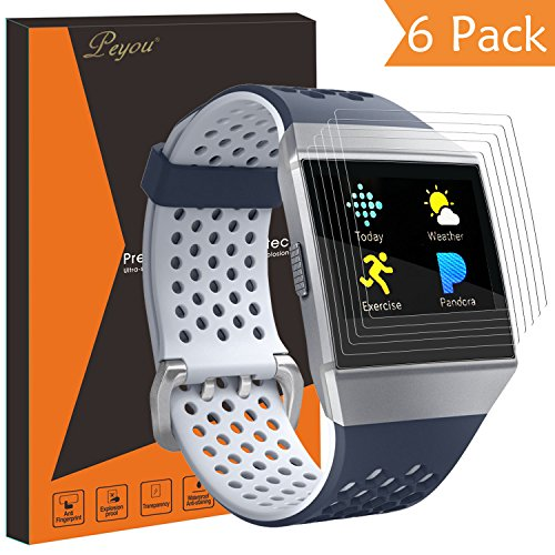 Fitbit Ionic Screen Protector [6 PCS], PEMOTech HD Clear [Full Coverage] Self-Healing Screen Protector Film for Fitbit Ionic Smartwatch Anti-Scratch / Bubble-Free / Anti-Fingerprint with Lifetime Replacement Warranty