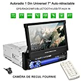 Autoradio Bluetooth GPS 1Din Écran 7'' Tactile Auto-Rétractable 1080p Radio FM/AM/MP3/SD/USB...