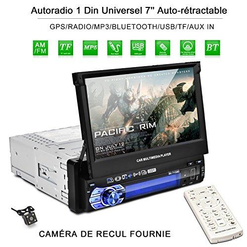 Autoradio 1 din GPS Navegador Autoradio Pantalla Retráctil para Coche 7'' con Mapa de Europa Radio FM/AM/MP3/SD/USB Autoradio Bluetooth Mano Libre Stéréo pieza de Cámara Marcha Atrás y Control Remoto
