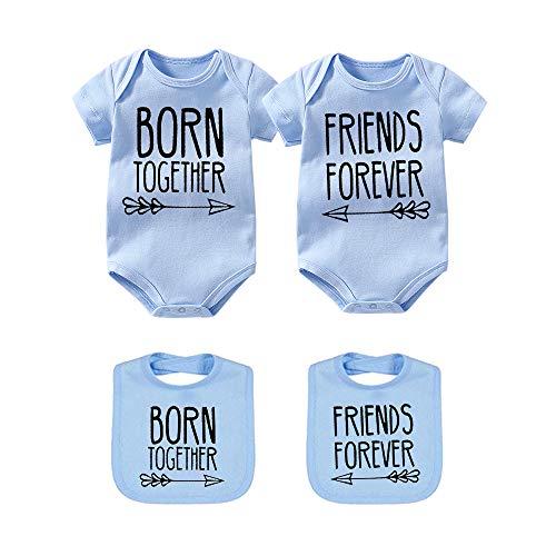 culbutomind - Pelele para bebé con Texto en alemán Beste Freunde Für Immer Fun Baby Geschenke Geburt Erstausstattung 2 Baby Lätzchen Blau Beste 0-3 Meses