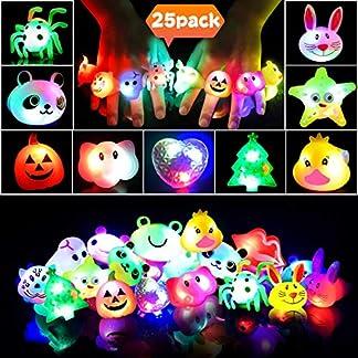Anillos LED Favores de Fiesta para Niños Anillos Luminosos de Silicona para Niñas Juguete Luminoso de Premio para Estudiante, Artículo de Cumpleaños, Suministro de Fiesta Halloween Navidad, 25 Piezas