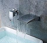 ETERNAL QUALITY Badezimmer Waschbecken Wasserhahn Messing Hahn Waschraum Mischer Mischbatterie Die Wand bündig Waschtisch Armatur Waschbecken,Kalt- und Warmwasser Mischve