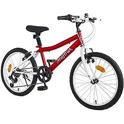 """Moma Bikes équipé Shimano Vélo de 20"""" SHIMANDO 7 Vitesses, Ideal pour Enfant a partir de 120 a 135cm Mixte, Rouge"""
