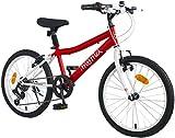 Moma Bikes 2229, Bicicletta, 7 Velocitá Shimano Gioventù Unisex, Red/White, Taglia Unica