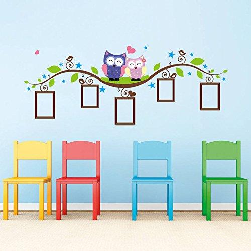 Zegeey Paar Eule Familie Wandtattoo Aufkleber Abnehmbare Bilderrahmen Kinder Baby Zimmer Vinyl für Schlafzimmer Wohnzimmer -