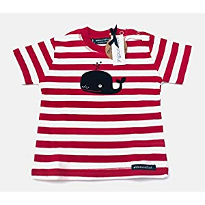 Maritimes Baby-Shirt Wal - rot/weiß - fair - maritimes Babyshirt von ebbeundflut