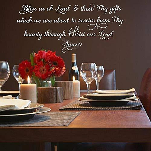Segne uns, oh Herr, und diese deine Geschenke amen Zitat Küche Wandtattoo Mahlzeit Gebet Schriftzug Wohnkultur Esszimmer Tapete b3 188x56cm