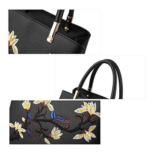 Auspicious beginning Mädchen Schulter Top-Griff Taschen mit gestickten Blumen Weinrot