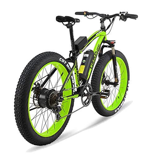 MERRYHE Bicicletta Elettrica 500W 26 Pollici Pneumatico Grasso Mountain Bike Bicicletta Da Neve 48V-10AH Li-batteria Rimovibile Adulto E-Bike Strada Citybike Tre Modalità Di Lavoro,Green-48V10AH