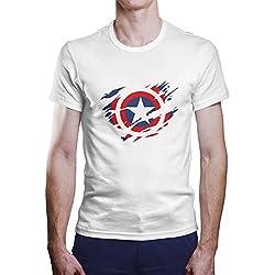OKAPY Camiseta Capitan America. Una camiseta de hombre con el escudo de Capitán América rasgado.Camiseta friki de color blanco
