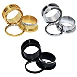 D&Min Jewelry 3 Paare/6er Set Edelstahl Schraub Tunnel Plugs Ear Stretcher Gold&Silber&Schwarz 00g(10mm)