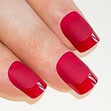 Bling Art Unghie Finte Manicure Francese Rosso Opaco Copertura Totale Punte Medie